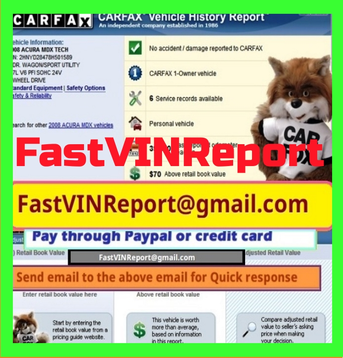 Email for Original CARFAX or AUTO CHECK reports
